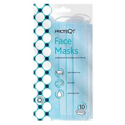 Proteqt Medical Face Mask Type IIR Non Woven Blue Pack of 10