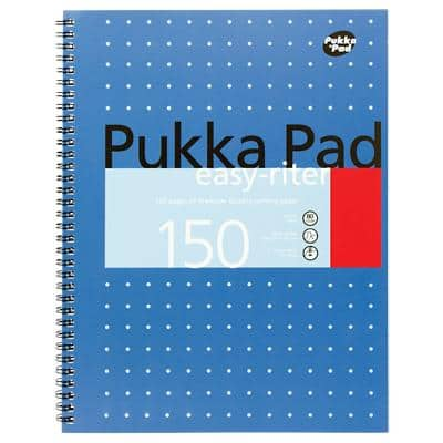 Pukka Pad Metallic Easy-Riter A4+ Wirebound Blue Cardboard Cover Notebook Ruled 150 Pages Pack of 3