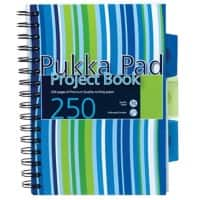 Pukka Pad Stripes A5 Wirebound Assorted Poly Cover Project Book Ruled 250 Pages Pack of 3