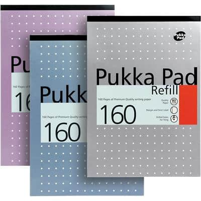 Pukka Pad A4 Top Bound Assorted Card Cover Refill Pad Ruled 160 Pages Pack of 3