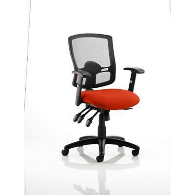 Dynamic Independent Seat & Back Task Operator Chair Height Adjustable Arms Portland III Black Back, Tabasco Red Seat Without Headrest Medium Back