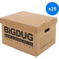BiGDUG Archive Box with Lid Cardboard 33.8 x 44.5 x 26.5 cm Brown Pack of 25