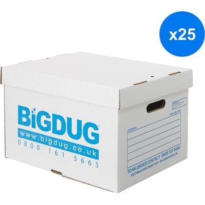 BiGDUG Archive Boxes White Cardboard 265(h) x 338(w) x 445(d) mm Pack of 25