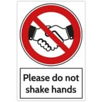 Trodat Health and Safety Sign Please do not shake hands Aluminium 20 x 30 cm