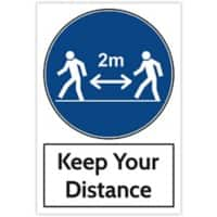 Trodat Health and Safety Sign Keep your distance Aluminium 20 x 30 cm