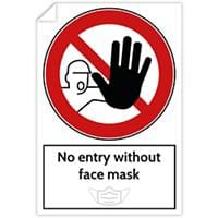 Trodat Health and Safety Sticker No entry without face mask PVC 20 x 30 cm Pack of 3