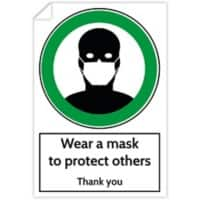 Trodat Health and Safety Sticker Wear a mask to protect others PVC 20 x 30 cm Pack of 3