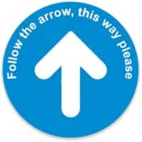 Trodat Floor Sticker Follow the arrow, this way please Blue, White Vinyl 40 x 40 cm
