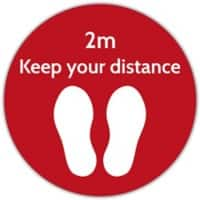 Trodat Floor Sticker Keep your distance Red, White Vinyl 40 x 40 cm
