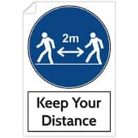 Trodat Health and Safety Sticker Keep your distance PVC 20 x 30 cm 3 Pieces