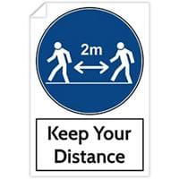 Trodat Health and Safety Sticker Keep your distance PVC 20 x 30 cm Pack of 3