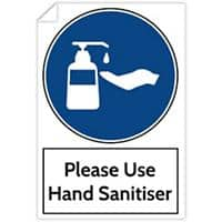 Trodat Health and Safety Sticker Please use hand sanitiser PVC 20 x 30 cm Pack of 3