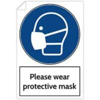 Trodat Health and Safety Sticker Please wear protective mask PVC 20 x 30 cm Pack of 3