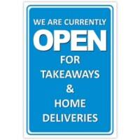 Trodat Information Sign We are currently open for takeaways and home deliveries Aluminium 20 x 30 cm