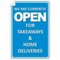 Trodat Window Sticker We are currently open for takeaways and home deliveries PVC 20 x 30 cm Pack of 3