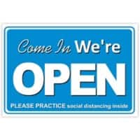 Trodat Information Sign Come in we're open, please practice social distancing inside Aluminium 20 x 30 cm