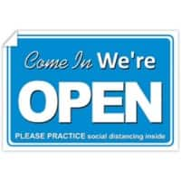 Trodat Window Sticker Come in we're open, please practice social distancing inside PVC 20 x 30 cm Pack of 3
