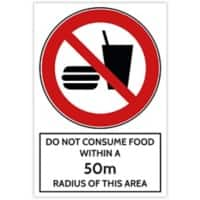 Trodat Health and Safety Sign Do not consume food within a 50 m radius of this area Aluminium 20 x 30 cm