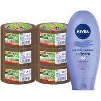 Tesapack Brown Eco and Strong Packaging Tape and Nivea Hand Creme Bundle 50 mm x 66 m 6 Rolls