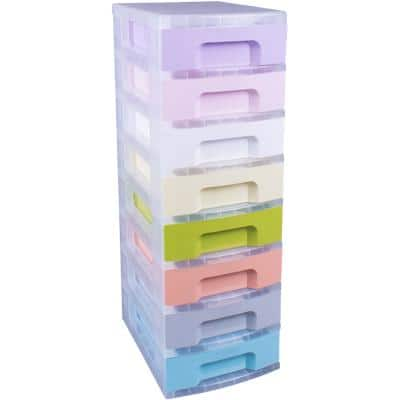 Really Useful Box 8 x 7 Litre Plastic Drawer Unit Pastel 300 x 420 x 925 mm