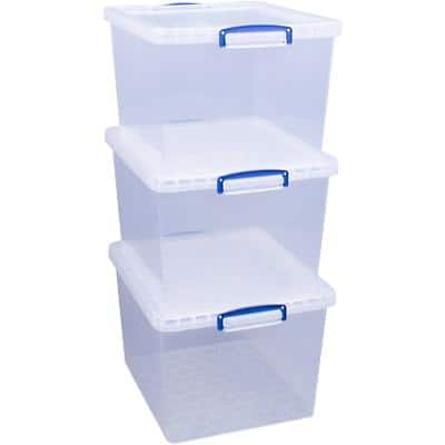 Really Useful Box Plastic Nestable Storage Boxes 33.5 Litre 383 x 460 x 285 mm Pack of 3