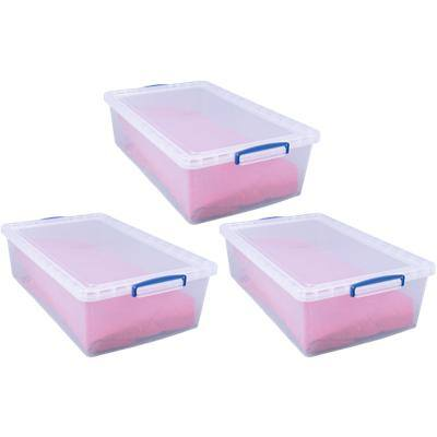 Really Useful Box Plastic Nestable Storage Boxes 43 Litre 440 x 695 x 230 mm Pack of 3