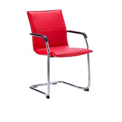 Visitor Chair Echo Cantilever Red Bonded Leather With Arms