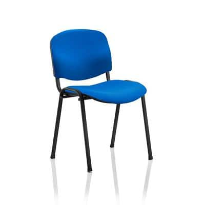 Stacking Chair ISO Black Frame Blue Fabric Pack of 4