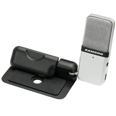SAMSON Clip-On Miniature USB Condenser Microphone GO MIC Wired With 3.5mm Port Silver