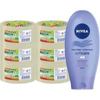 Tesapack Transparent Eco and Strong Packaging Tape and Nivea Hand Creme Bundle 50 mm x 66 m 6 Rolls