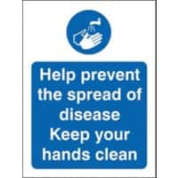 Stewart Superior Health and Safety Sign Help prevent the spread of disease, keep your hands clean Vinyl 30 x 20 cm