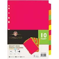 Concord blank divider A4 Assorted Colours 10 Part