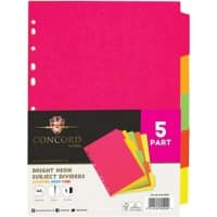 Concord blank divider A4 Assorted Neon Colours 10 Part
