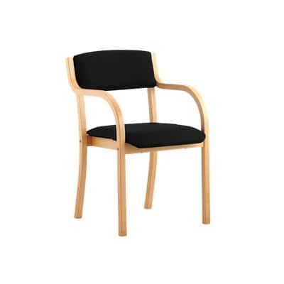 Visitor Chair Madrid Straight Leg Black With Arms