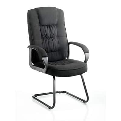 Visitor Chair Moore Cantilever Black Fabric With Arms