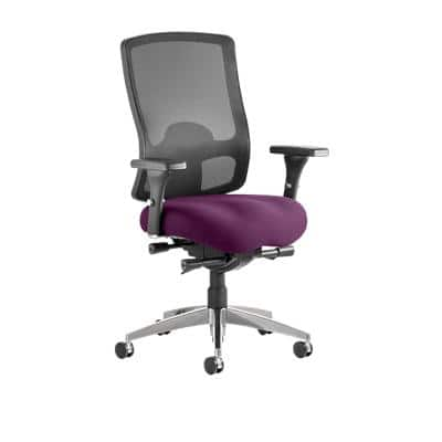 Task Office Chair Regent Black Mesh Back Fabric Seat Tansy Purple With Arms