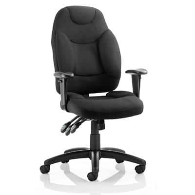 Dynamic Permanent Contact Backrest Task Operator Chair Height Adjustable Arms Galaxy Black Seat With Headrest Medium Back