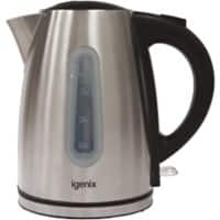 igenix Cordless Electric Jug Kettle 1.7L Metal, Stainless Steel Silver 360° Rotational Base 3000 W