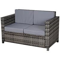 Outsunny Rattan Double-Seat Sofa 860-031GY Grey