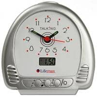 Lifemax Talking Alarm Clock Silver LCD
