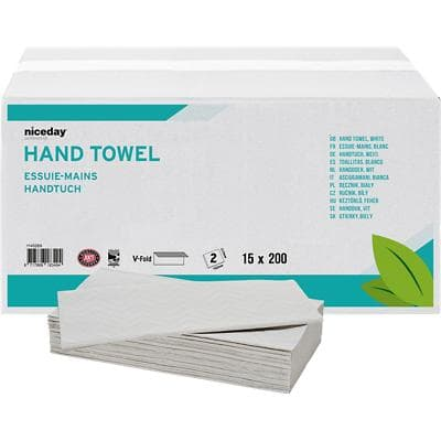 Niceday Professional Hand Towels Standard 2 Ply V-fold White 200 Sheets Pack of 15