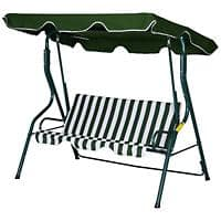 Outsunny Swing Chair Green, White Steel Pipe, Polyester Fabric 84A-118