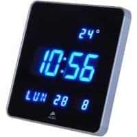 Alba Digital Wall Clock HORLEDSQ 28 x 3.4cm Silver Grey & Blue