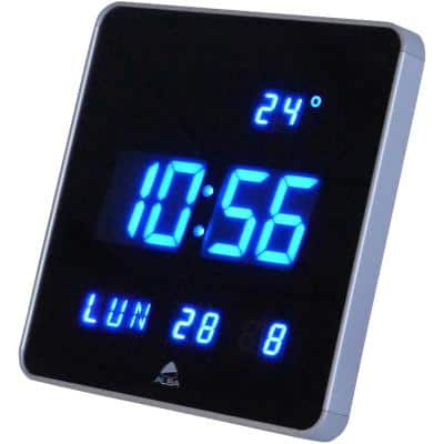 Alba Digital Wall Clock HORLEDSQ 28 cm x 3.4 cm x 28 cm Black