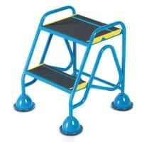 FORT Mobile Ladder with Anti-Slip Tread and No Handrail 2 Steps Blue Capacity: 150 kg