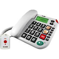 maxcom Telephone with Remote SOS Emergency Pendant and Direct Photo Memory Buttons KXT481 White