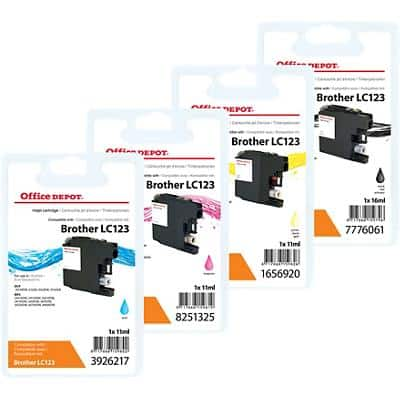 Office Depot Ink Cartridge Set Compatible Brother C-123VAL PR Black, Cyan, Magenta, Yellow Pack of 4