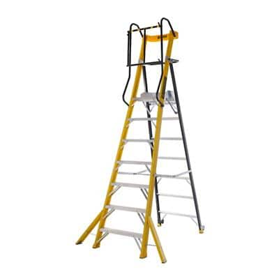 CLIMB-IT Glass Fibre Ladder 7 Steps Yellow Capacity: 150 kg