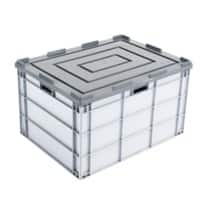EXPORTA Stacking Container with Lid Euro 170 L Grey Polypropylene 80 x 60 x 45 cm Pack of 5