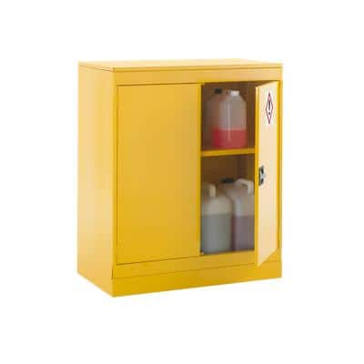Express Half Height Hazardous Substance Cabinet (1 Shelf), 1070x915x505mm, Yellow